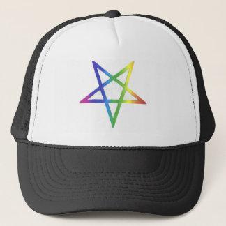 Inverted rainbow pentagram hat