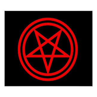 Inverted Red Pentagram Poster