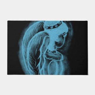 Inverted Sideways Angel in Black and Light Blue Doormat