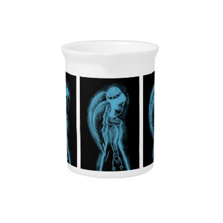 Inverted Sideways Angel in Black and Light Blue Pitcher