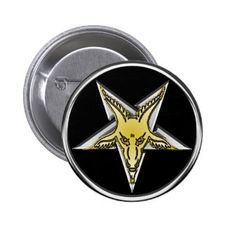 Inverted Silver Pentagram with Golden Goat head 6 Cm Round Badge