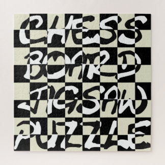 Inverted Text Chess Board Jigsaw Puzzle