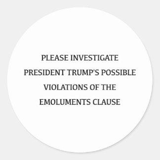 Investigate Trump Classic Round Sticker