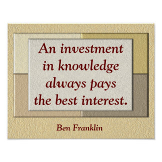 Investment in knowledge -quote print