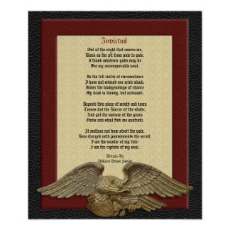 Invictus poem leather with eagle posters