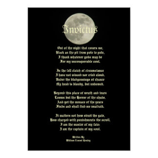 Invictus, Victorian poem on image of the moon Poster