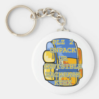 Invisible Backpack Basic Round Button Key Ring