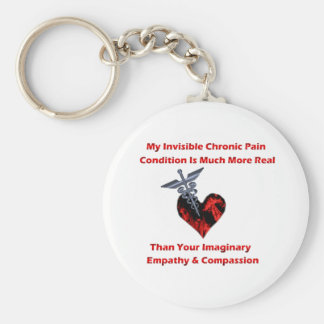 Invisible Chronic Pain Red Heart Basic Round Button Key Ring