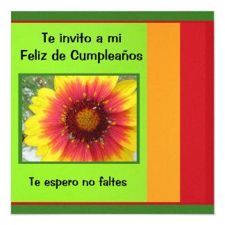 """Invitación - Feliz Cumpleaños - Sunflower 5.25"""" Square Invitation Card"""