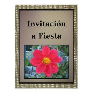 Invitación - Fiesta - Flor Roja 6.5x8.75 Paper Invitation Card