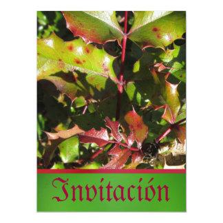 Invitación - Fiesta - Holly Leaves 17 Cm X 22 Cm Invitation Card