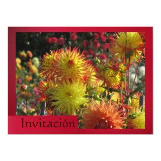 Invitación - Las Dalias - Amarilla y Roja 17 Cm X 22 Cm Invitation Card