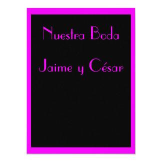 Invitación - Nuestra Boda - Negra y rosa 17 Cm X 22 Cm Invitation Card