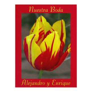Invitación - Nuestra Boda - Roja y Amarilla Personalized Announcement