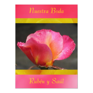 Invitación - Nuestra Boda - Rosa y amarilla Announcement