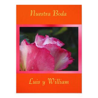 Invitación - Nuestra Boda - Rosa y naranja 17 Cm X 22 Cm Invitation Card