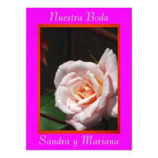 Invitación - Nuestra Boda - Rosa y naranja Announcement
