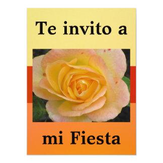 Invitación - Te invito a mi Fiesta - Flor Amarilla 6.5x8.75 Paper Invitation Card