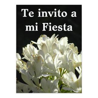 Invitación -Te invito a mi Fiesta - Flores Blancas 17 Cm X 22 Cm Invitation Card