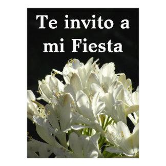 Invitación -Te invito a mi Fiesta - Flores Blancas Invitation