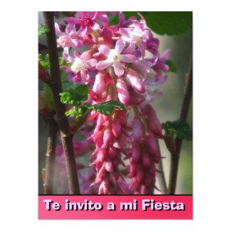 Invitación -Te invito a mi Fiesta - Flores rosa 17 Cm X 22 Cm Invitation Card
