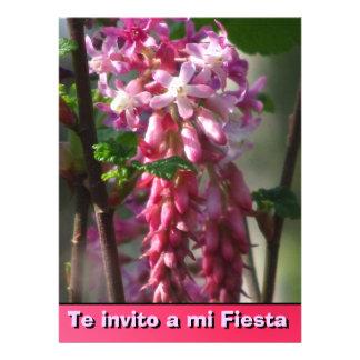 Invitación -Te invito a mi Fiesta - Flores rosa Custom Announcement