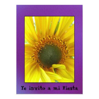 Invitación - Te invito a mi Fiesta - Girasol 6.5x8.75 Paper Invitation Card