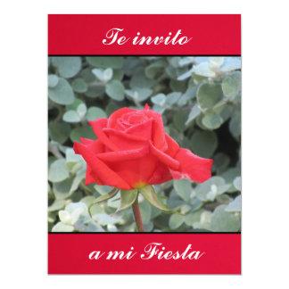 Invitación - Te invito a mi Fiesta - La Rosa Roja 6.5x8.75 Paper Invitation Card