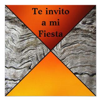 Invitación -Te invito a mi Fiesta - Naranja 5.25x5.25 Square Paper Invitation Card