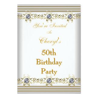 Invitation 50th Birthday Party White Silver Gold