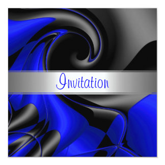 Invitation Abstract Blue Curve Personalized Announcements