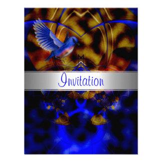 Invitation Abstract Blue Curve Blue Bird 3 Custom Announcement
