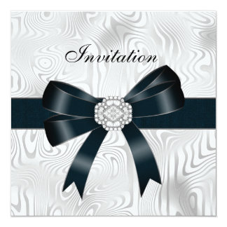 Invitation All Occasions Abstract Silver white Bow