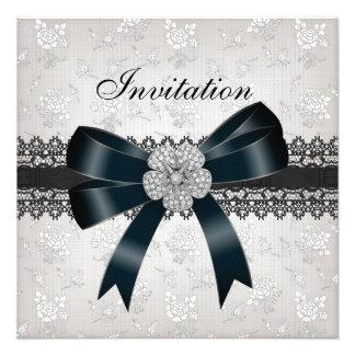 Invitation All Occasions Diamond Jewel Black Bow Invitations