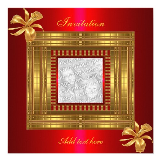 Invitation All Occasions Rich Gold Red Add Photo Personalized Announcement