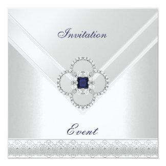 Invitation All Occasions White Blue Silver Jewel