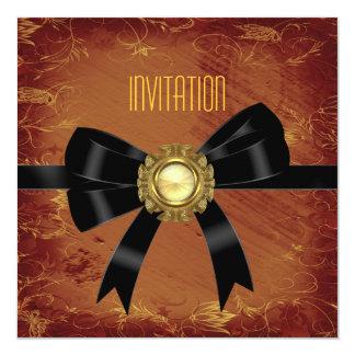 "Invitation Antique Rust Paper Black Jewel Bow 5.25"" Square Invitation Card"