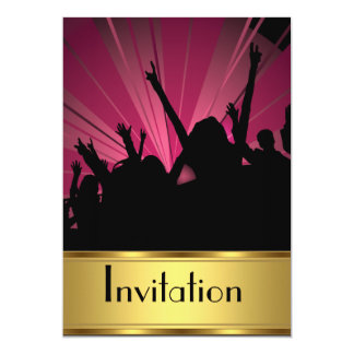 "Invitation Any Party Gold and Party 5"" X 7"" Invitation Card"