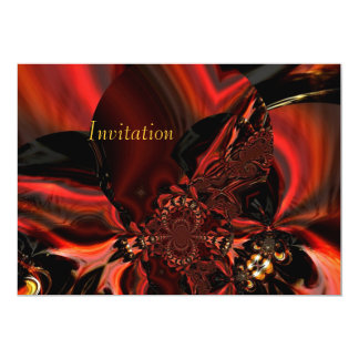 Invitation Art Abstract Jeweled Silk In Red