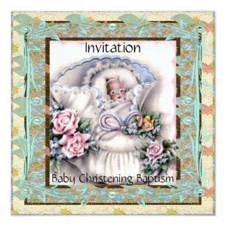 Invitation Baby Christening Baptism Teal Vintage