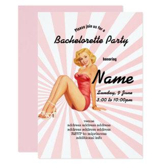 invitation, Bachelorette Party, vintage pinup girl Card