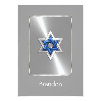 "Invitation Bar Mitzvah Star of David Blue & Silver 5"" X 7"" Invitation Card"
