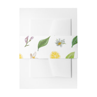 Invitation Belly Bands - Lemon Floral Print Invitation Belly Band