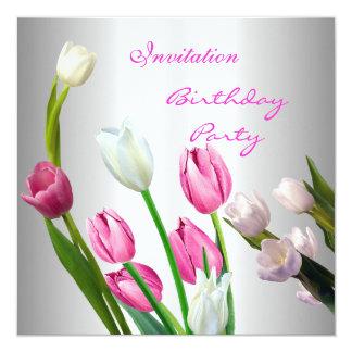 Invitation Birthday 50th Elegant Pink & White Tuli