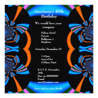 "Invitation Birthday Abstract Blue Albums 5.25"" Square Invitation Card"