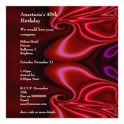 Invitation Birthday Abstract Faux Silk Red Purple  Personalized Invitations