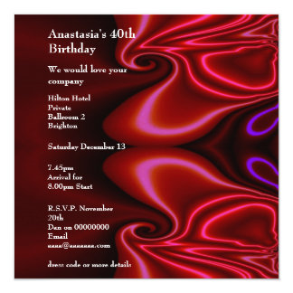Invitation Birthday Abstract Faux Silk Red Purple  Personalized Invitations