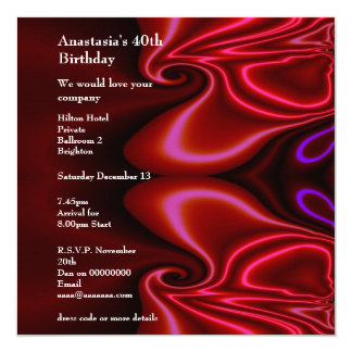 Invitation Birthday Abstract Faux Silk Red Purple