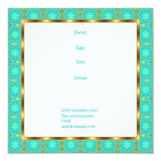 Invitation Birthday Aqua & Gold Patchwork