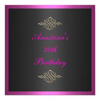 Invitation Birthday Black Pink & Gold Trim